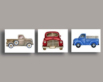 Boys trucks art, vintage trucks artwork, boys cars trucks nursery art, vintage pickup trucks art, kids nursery art