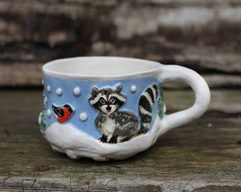 Raccoon and dog sculptured mug, lavender blue and white tea cup, small soup mug, ceramic mug hand built, pottery cup hand painted