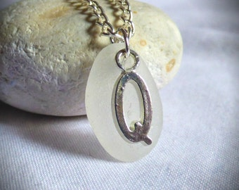 CLEARANCE - Initial Q, Q Necklace, Seaglass Pendant, Seaglass Letter, Seaglass Q, Initial, Pendant, Alphabet Jewelry, Seaglass -  PC17018