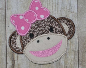 Girl Sock Monkey Applique Embroidery Design - Instant Download