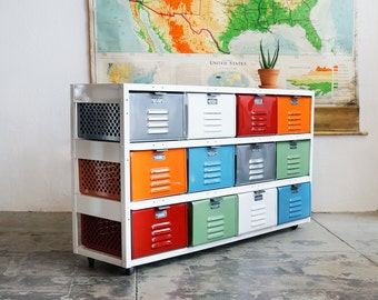4 x 3 Reclaimed Locker Basket Unit with Multicolored Drawers and Casters
