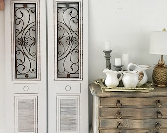 Miniature wrought iron pair of french doors - french style ornate double doors - Dollhouse - Roombox - Diorama - 1:12 scale