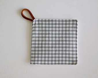 Grey Gingham Pot Holder - Kitchen Pot Holders and Hot Pads
