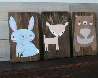 woodland animal decor, woodland nursery animals, baby shower gift, nursery decor, fox art, rustic animal decor, cabin art, kids room art