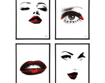 Glamour Group of 4 Pop Art Prints Beauty Glamor