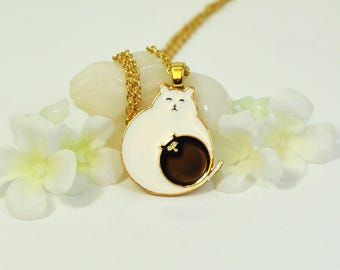 Kawaii Cat Necklace Deaux Chats- Cat Lover Gift- Animal Jewelry-  Kitty Cat- Cat Jewelry- Cat Gift- Gift for Her- Cat Pendant-Kitty Necklace