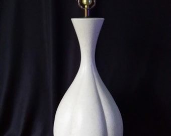 Vintage Mid Century Modern White Lamp Dramatic Huge Gourd Lamp Satin White Speckle Glaze FREE SHIPPING