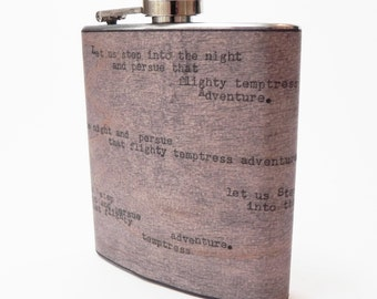 """Harry Potter Quote Vintage Typewriter Real Wood Flask : """"Let us step into the night and persue that flighty temptress Adventure"""""""