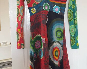 Vintage Desigual dress - psy dress - hippie dress- boho dress - romantic dress - festival dress - barcelona fashion