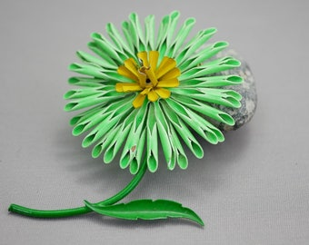 Vintage Flower Pin Bright Green Flower Pin Brooch
