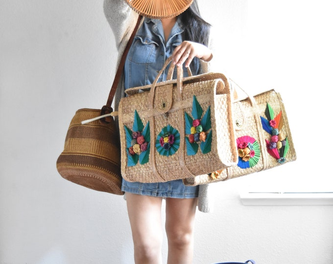 summer woven straw basket hand bag / shoulder purse / beach bag