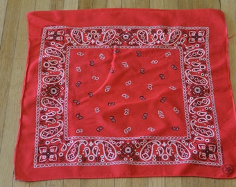 Vintage Bandana Scarf Classic Red Paisley All Cotton Fast Color Handkerchief Made in USA
