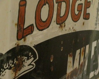 1940s Rock Creek Lodge Metal Sign, Rare