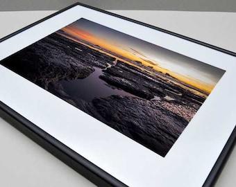 Low Tide Sunset in, Crescent City, CA - Framed