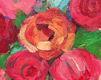 Flower Bouquet; Floral Still Life; Pink Roses Canvas