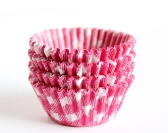 60 Mini Cupcake Liners - Pink Gingham