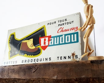 1950's French metal sign/ French wall decor/ French decor / Industrial sign /Loft decor/ French bistro