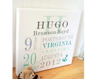 Baby Canvas print Custom Birth Canvas -custom colors arrives ready to hang -Free Shipping