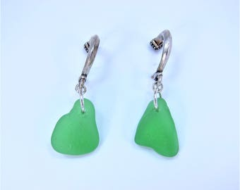 Grecian hook earrings with green sea glass from Cape Breton, Nova Scotia