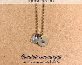 Initial pendants necklace handmade engraved-custom