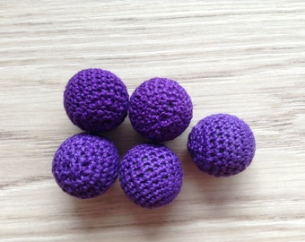 Crocheted beaded purple 22 mm sold 5 x