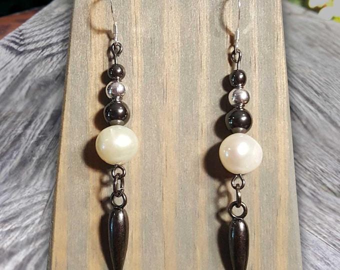 White Pearl Fight Night Earrings