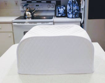 White Toaster Oven Cover White Kitchen Quilted Fabric Small Kitchen Appliance Covers Made To Order