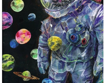 Astronaut Art - Surreal Planet Art Print - Planet Party