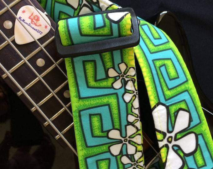 Lime surf guitar strap // white frangipani flowers, green blue lemon tiki retro luau guitarist music gift // ukulele strap as custom order