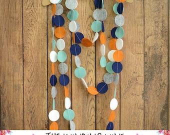 Blue/Teal/Orange/White/Gray Felt Circle Garland - Home Decor, Party Decor, Nursery Decor