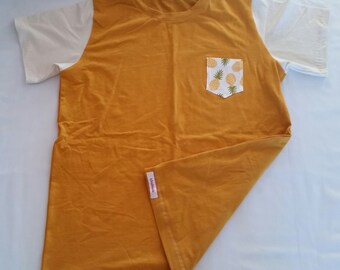 Men's Tee Shirt Large, mustard, cream, pineapples