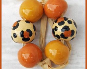 Autumn Leopard ceramic Bead set