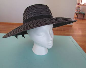 Vintage Betmar Wide Brim Black Straw Hat Made In Italy Free Shipping