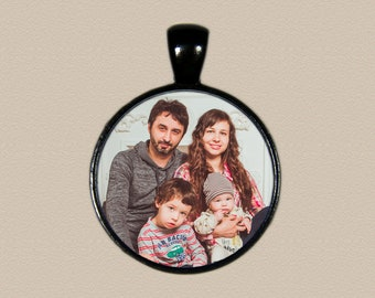 One Inch Round Photo Charm Necklace - Photo Pendant - Photo Jewelry - Gift for Mom - Gift for Her