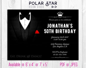 Tuxedo, Gentleman - Classic Elegant Personalized 30 40 50 60 70 80 90 Birthday Invitation - men, black, tux - Printable Digital File 185