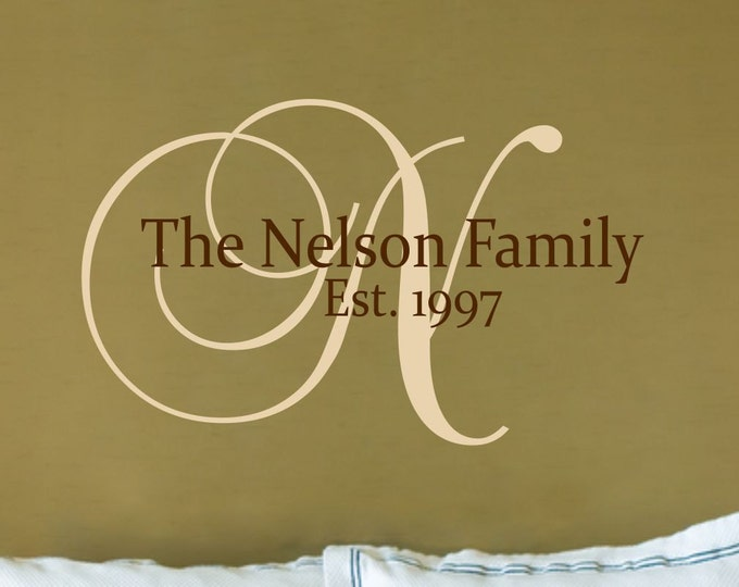 Family Name Wall Decal // Customized Monogram Decal // Family Name Decal // Established Date  // Family Sign // Wedding Decal