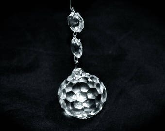 Large Faceted Crystal Glass Ball with 2 Beads Chandelier Finial or Window Sparkler