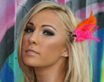 Flapper Feather Hair Clip Orange Pink With Multicolored Jewel That Is Perfect For Mardi Gras