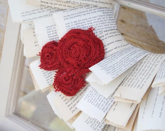Book Page Wreath with Red Burlap Rosettes