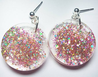 Pink Confetti Glitter Glow Earrings