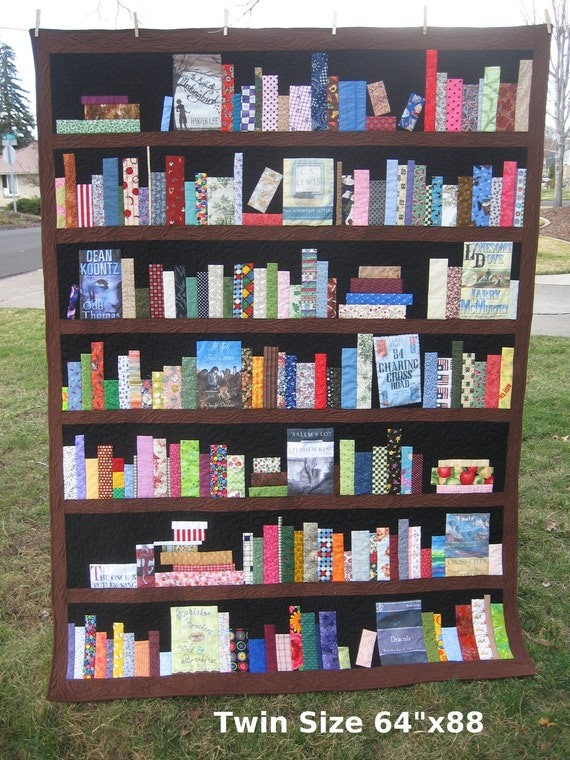 Custom order only bookcase quilt bookshelves books for Patchwork quilt book