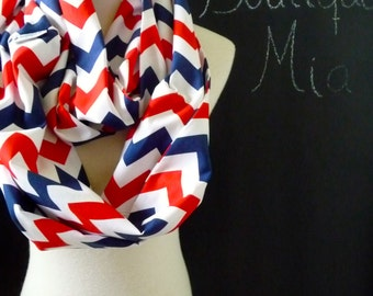 Infinity SCARF - Chevron Red, White and Blue - Riley Blake  - by Boutique Mia