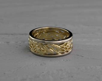 Braided vintage style wedding band, Two color gold wedding ring, Leaves wedding band, Wide gold band, Anniversary ring, Solid gold ring
