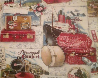 Travel Fabric Suitcases Boats Cars  1 Yard Cotton