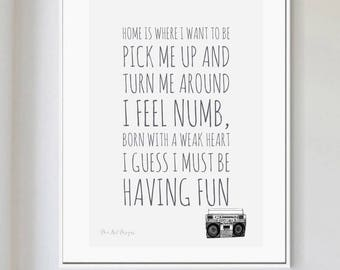 This Must Be The Place, Talking Heads inspired Print