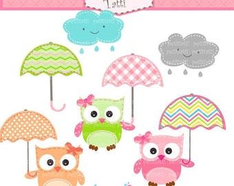 ON SALE owls clip art - Digital clip art  for all use,  Owls and Umbrella clip art, Umbrellas clip art, INSTANT Download clip art