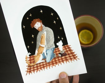 Man and his dog under starry sky A5 / A4 fine art giclee print