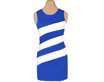 Blue + White Diagonal Stripe Dress