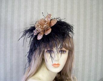 Kentucky Derby Fascinator Hat, Black and Copper Flower Fascinator, HORSE Race Fascinator, Preakness Hat, Belmont Hat, Shower, Bridal Hat