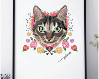 A3 Personalised Single Cat Print